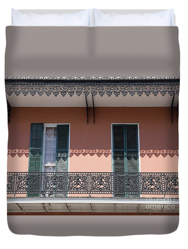 Wrought Iron Duvet Cover featuring the photograph Ornate Balcony In New Orleans by Louise Heusinkveld