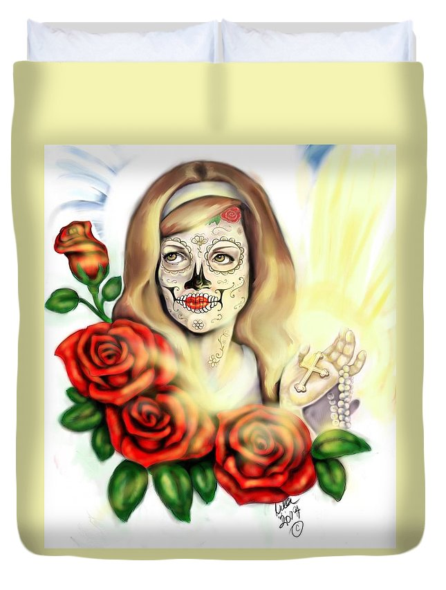 Pin Ups Duvet Cover featuring the digital art Oro Muerto by Lila Sandoval