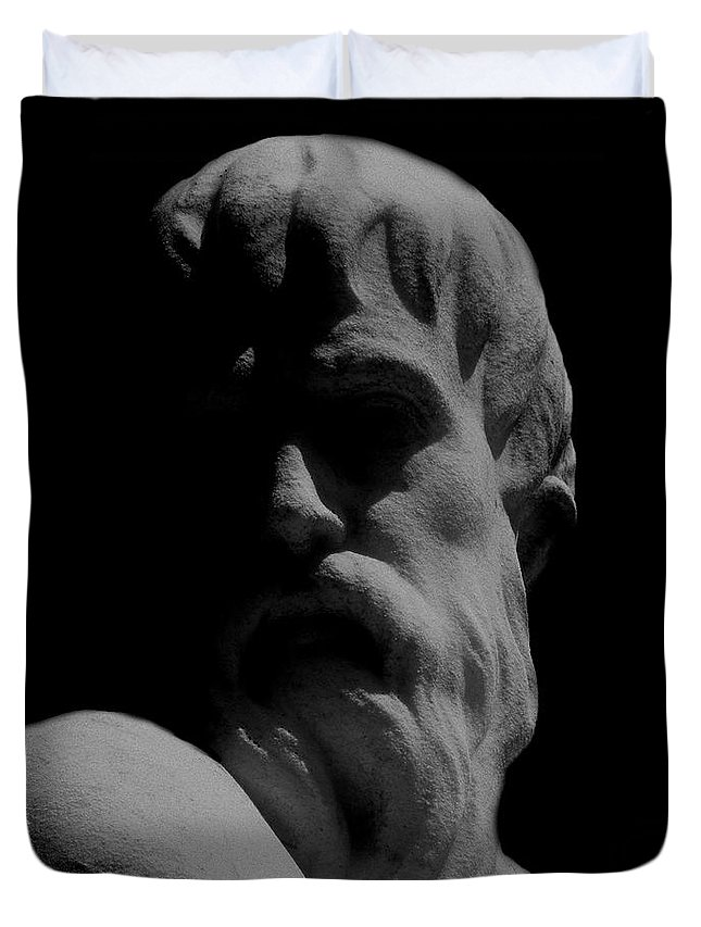 Black And White Duvet Cover featuring the photograph Orpheus Looks Back by RC DeWinter