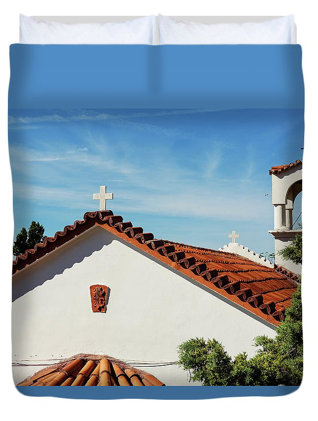 Greece Duvet Cover featuring the photograph Orthodox Church In Loutraki, Greece by Anna Finist