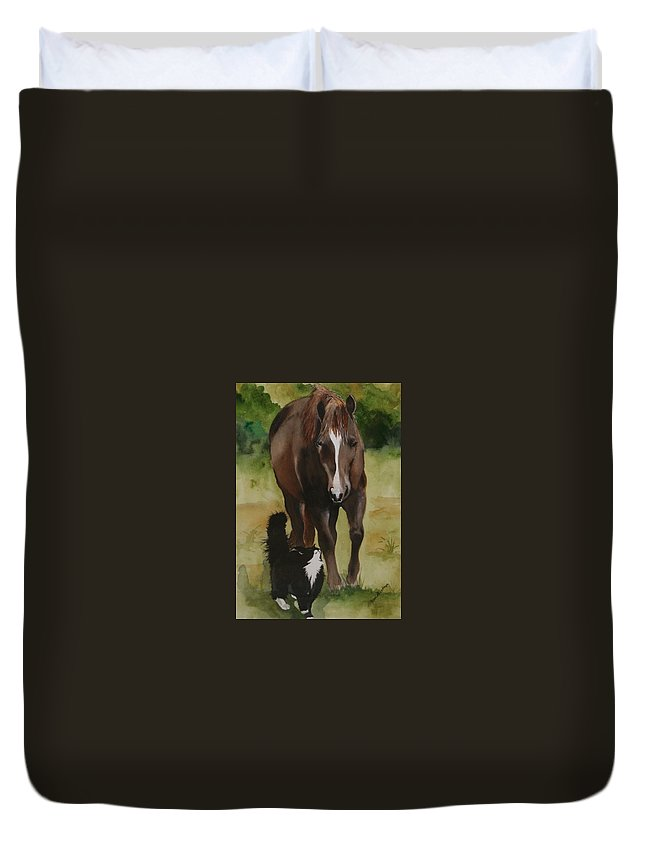 Horse Duvet Cover featuring the painting Oscar And Friend by Jean Blackmer