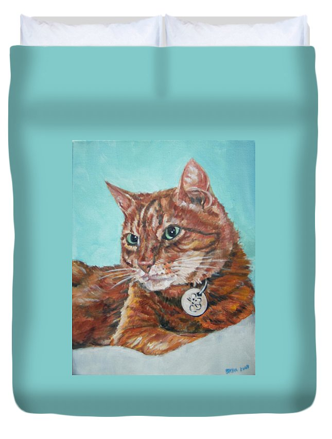 Cat Duvet Cover featuring the painting Oscar by Bryan Bustard