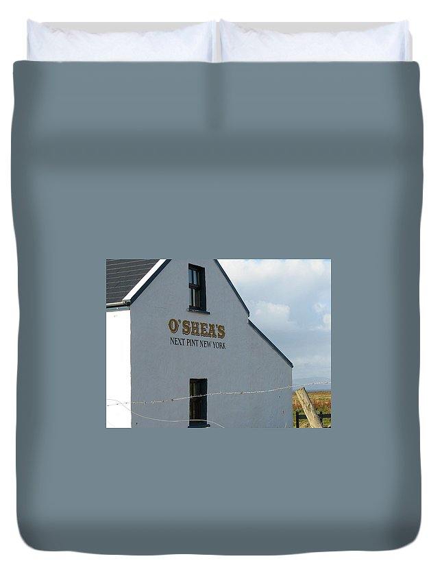 Pub Duvet Cover featuring the photograph O'shea's by Kelly Mezzapelle
