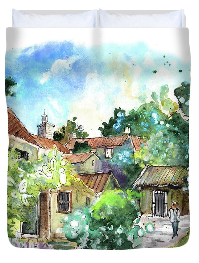 Travel Duvet Cover featuring the painting Osmotherley 01 by Miki De Goodaboom