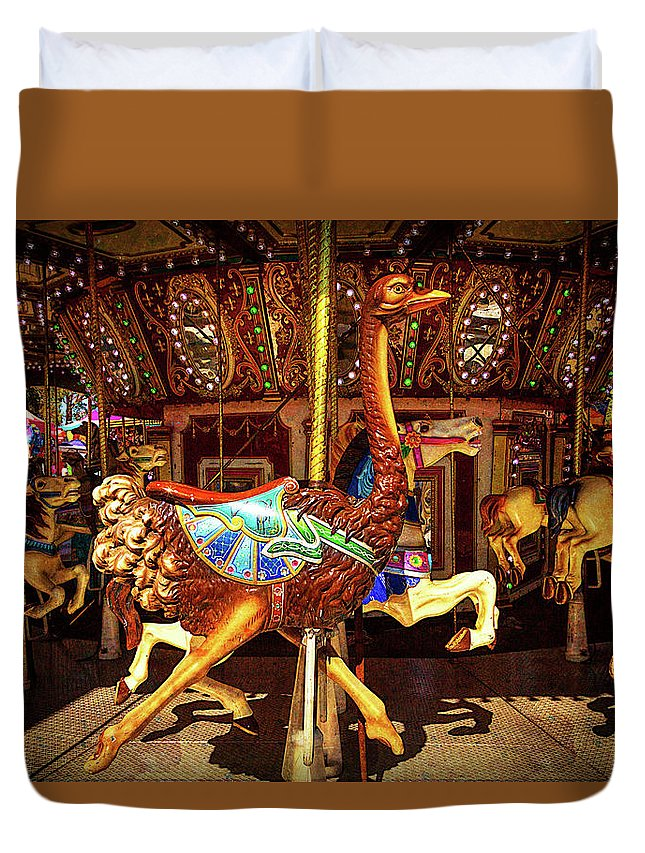 Magical Carousels Duvet Cover featuring the photograph Ostrich Carousel Ride by Garry Gay