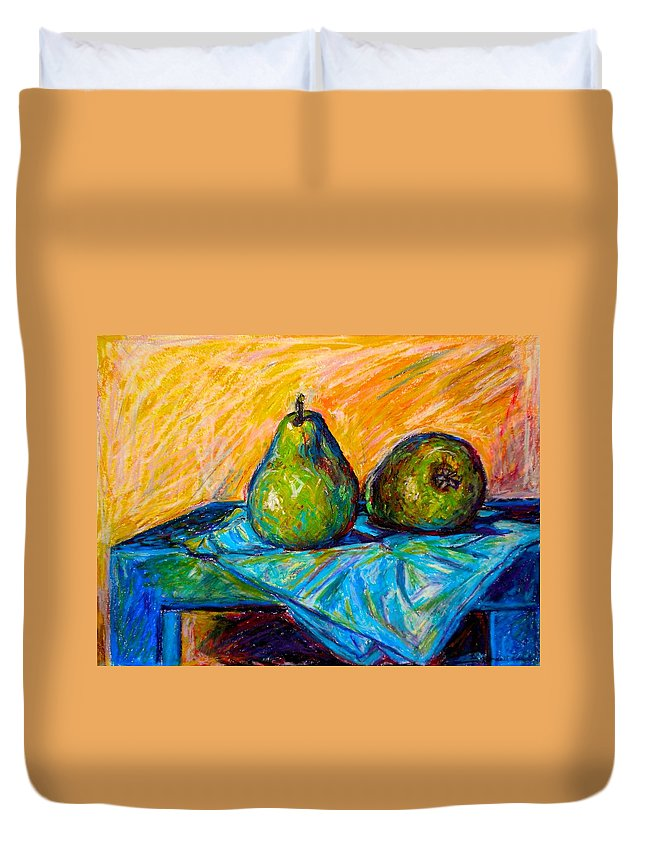 Still Life Duvet Cover featuring the painting Other Pears by Kendall Kessler
