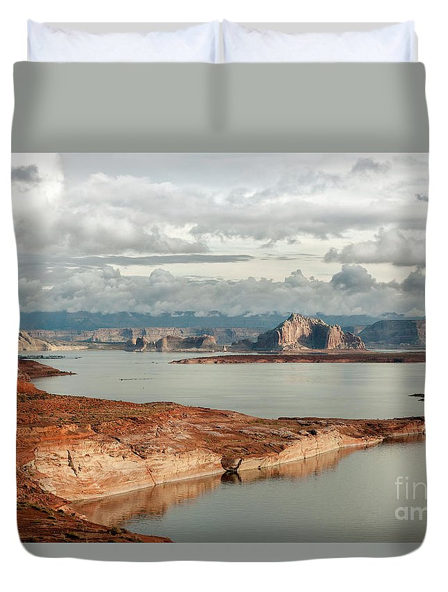 Southwest Duvet Cover featuring the photograph Otherworldly Morning At Lake Powell by Sandra Bronstein