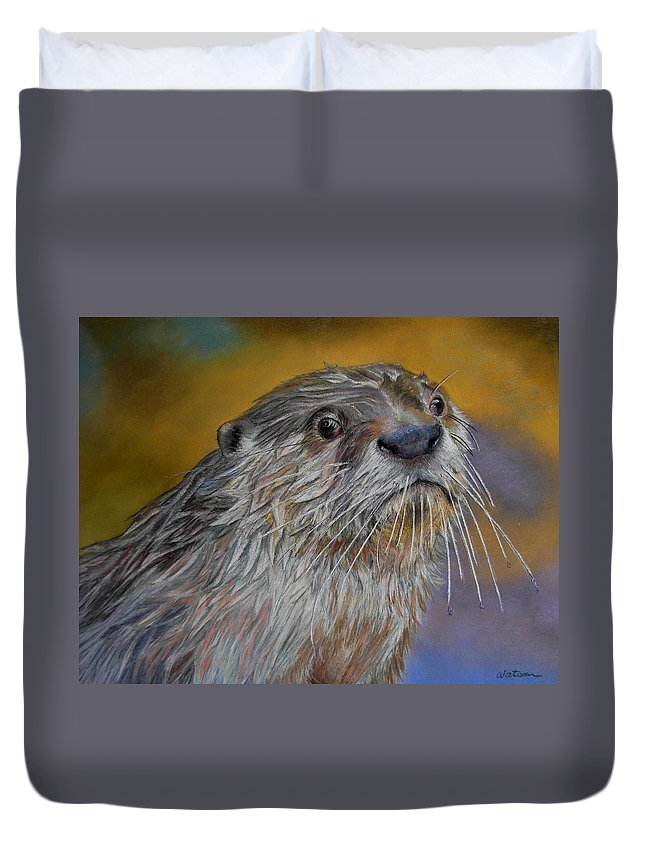River Otter Duvet Cover featuring the painting Otter Or Not by Ceci Watson