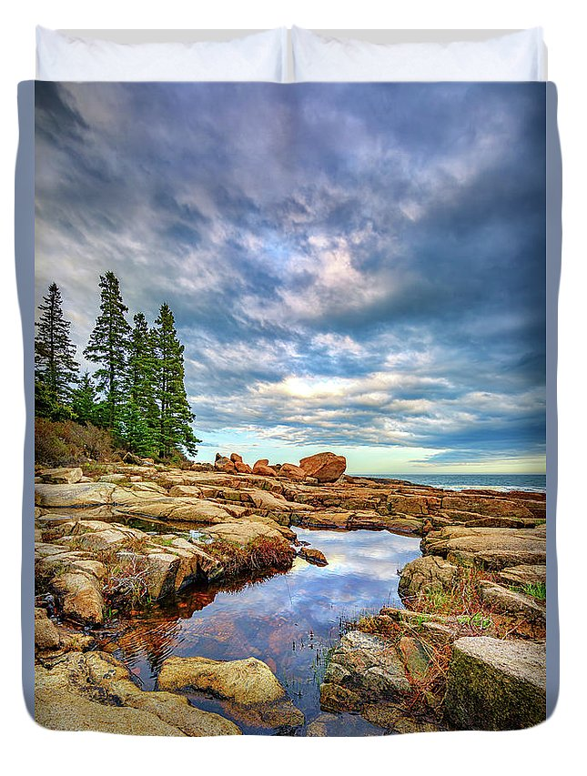 Maine Duvet Cover featuring the photograph Otter Point Reflections by Rick Berk