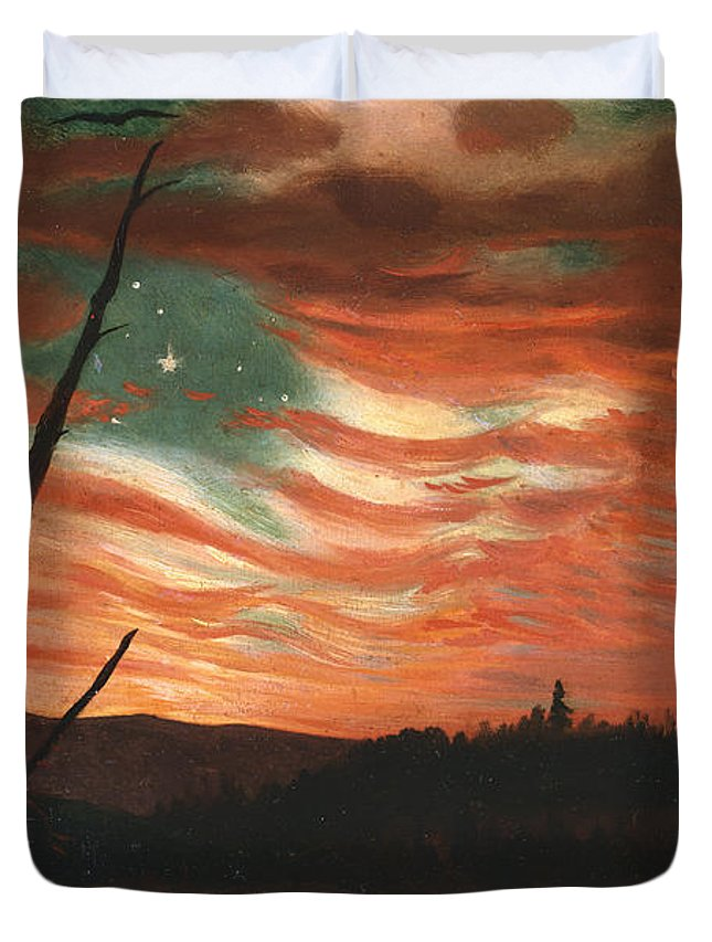 Our Duvet Cover featuring the painting Our Banner In The Sky by Frederic Edwin Church