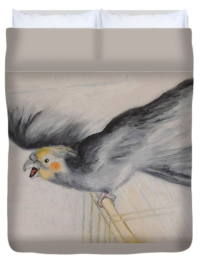 Cockatiel.pet Duvet Cover featuring the painting our cockatiel Coco by Helmut Rottler