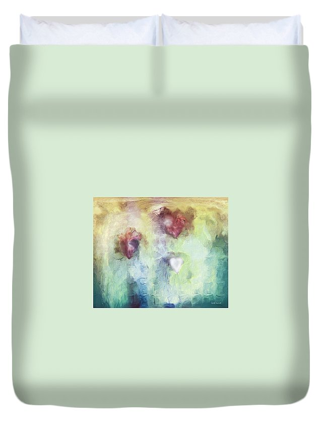 Our Hearts Duvet Cover featuring the digital art Our Hearts by Linda Sannuti
