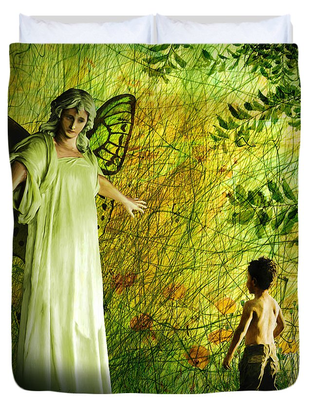 Angel Duvet Cover featuring the painting Our Lady Of The Meadow by Van Renselar