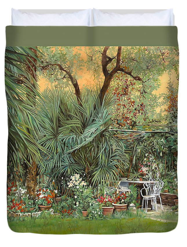 Garden Duvet Cover featuring the painting Our Little Garden by Guido Borelli