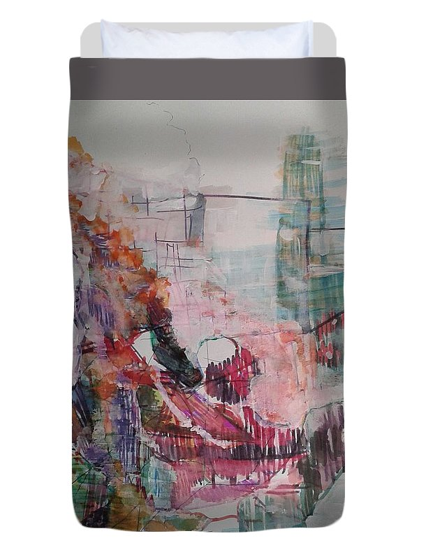 Abstract Duvet Cover featuring the painting Our Mom Is A Doll by Subrata Bose