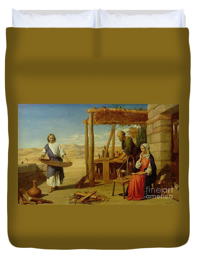 Pre-raphaelite Duvet Cover featuring the painting Our Saviour Subject To His Parents At Nazareth by John Rogers Herbert