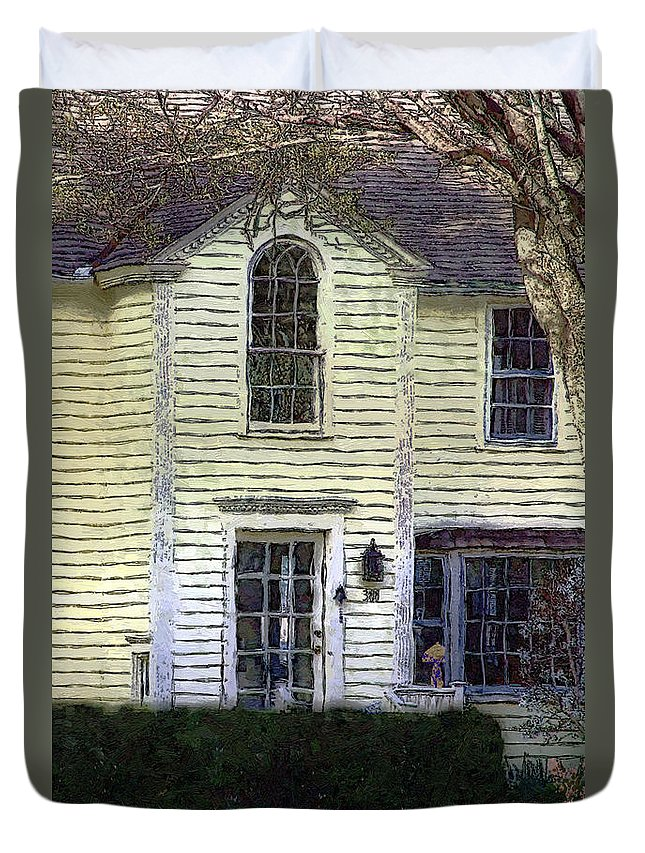 House Duvet Cover featuring the painting Our Town's Witch House by RC DeWinter