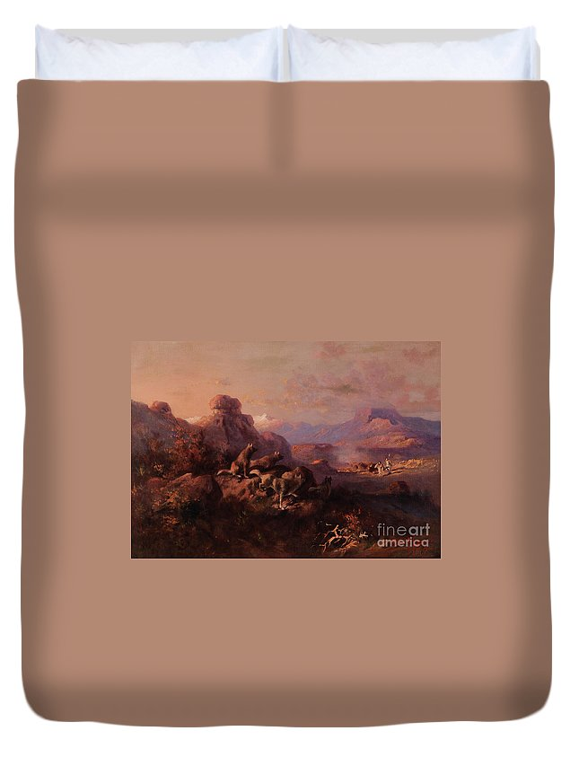 Traditional Duvet Cover featuring the painting Our Turn Next by Celestial Images