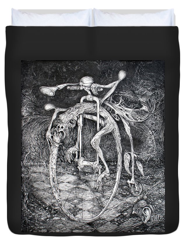 Ouroboros Duvet Cover featuring the drawing Ouroboros Perpetual Motion Machine by Otto Rapp