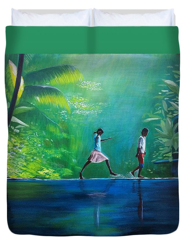 Philippines Duvet Cover featuring the painting Out And About by Jamie Melton