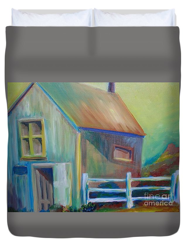 Out Building Duvet Cover featuring the painting Out Building by Morgan Leshinsky