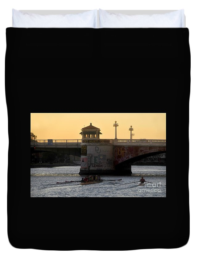 Sculling Duvet Cover featuring the photograph Out For An Evening Scull by David Lee Thompson