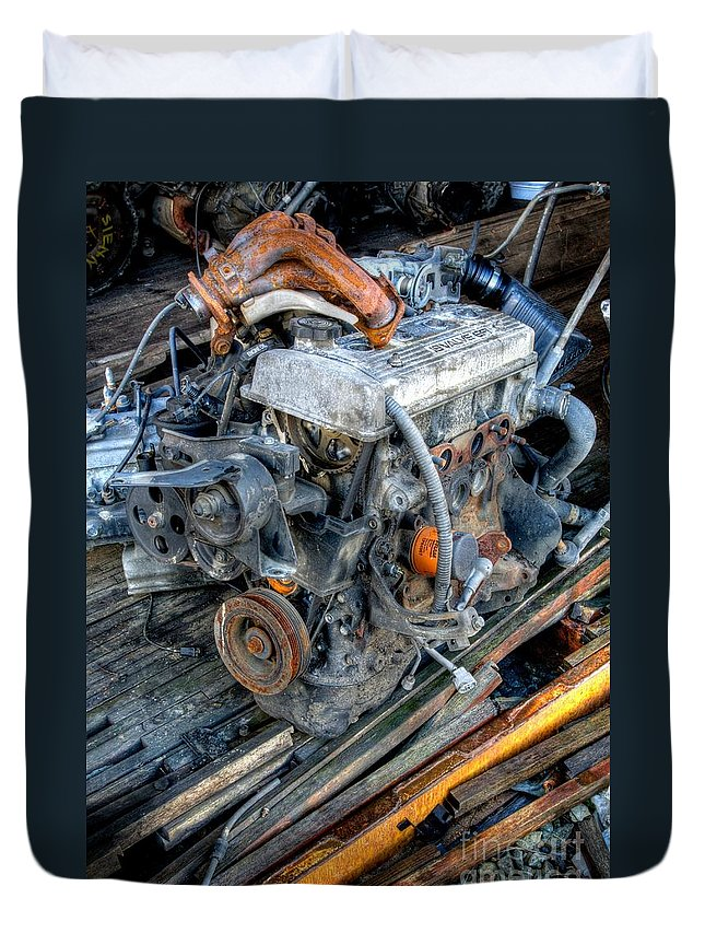 Engine Duvet Cover featuring the photograph Out Of Commission by Chris Dutton