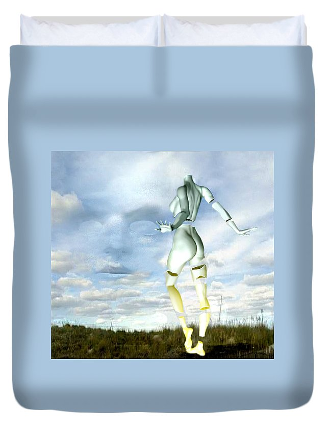 Sky Naked Woman Surreal Dance Duvet Cover featuring the digital art Out Of My Mind... by Veronica Jackson