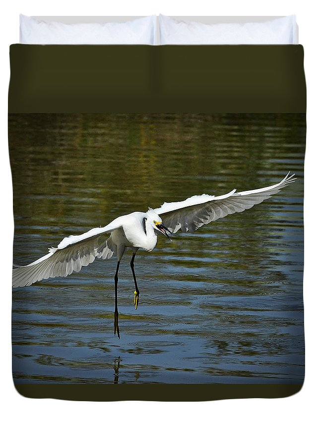 Snowy Egret Duvet Cover featuring the photograph Out Of My Way by Saija Lehtonen