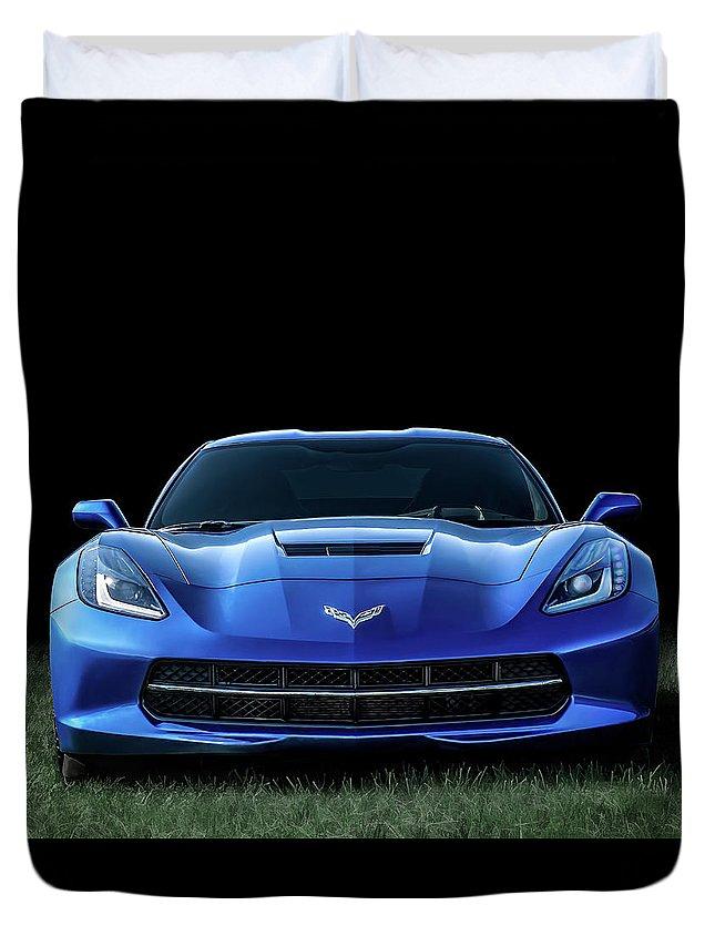 Corvette Duvet Cover featuring the digital art Blue 2013 Corvette by Douglas Pittman