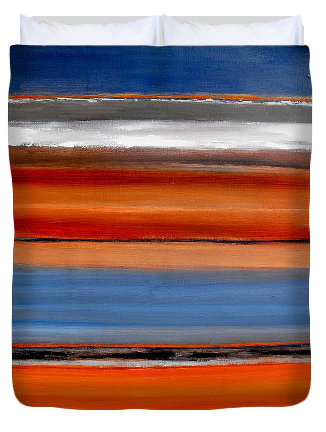 Abstract Duvet Cover featuring the painting Out Of The Blue by Ruth Palmer
