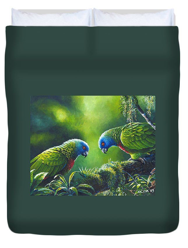 Chris Cox Duvet Cover featuring the painting Out on a Limb - St. Lucia Parrots by Christopher Cox