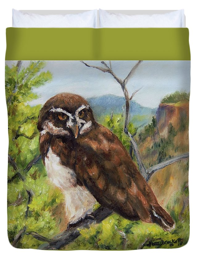 Out On A Limb Duvet Cover featuring the painting Out On A Limb by Lori Brackett