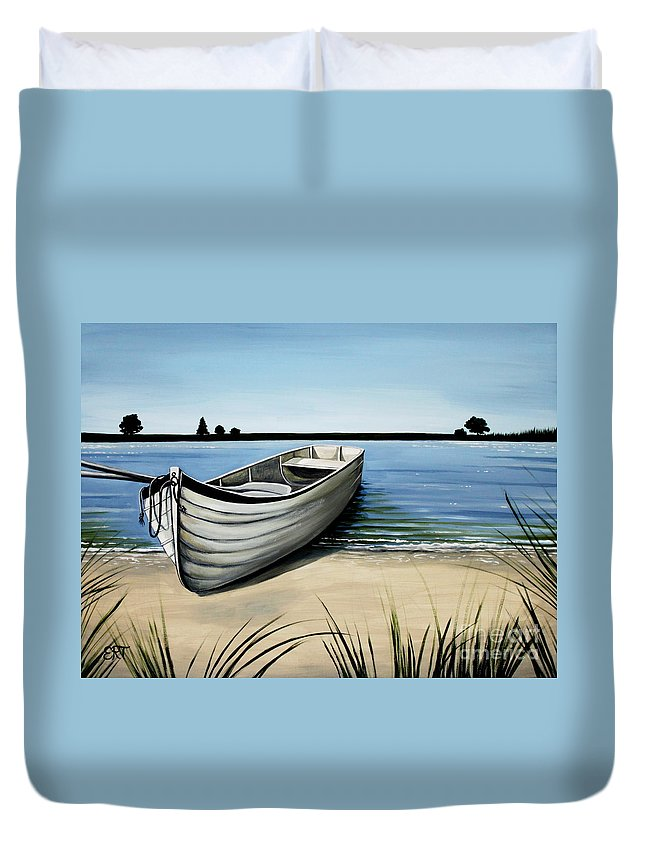 Boat Duvet Cover featuring the painting Out On The Water by Elizabeth Robinette Tyndall