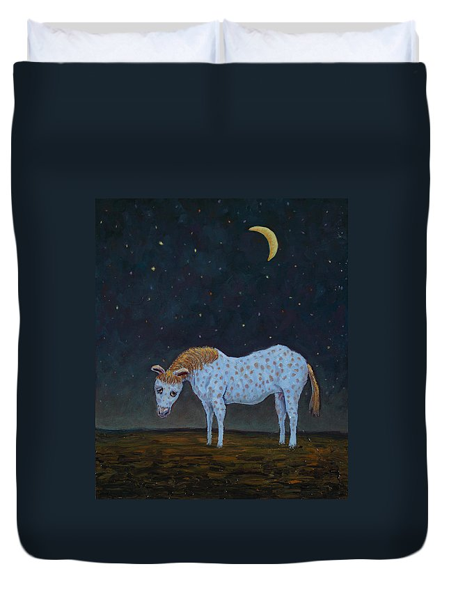 Retirement Duvet Cover featuring the painting Out To Pasture by James W Johnson