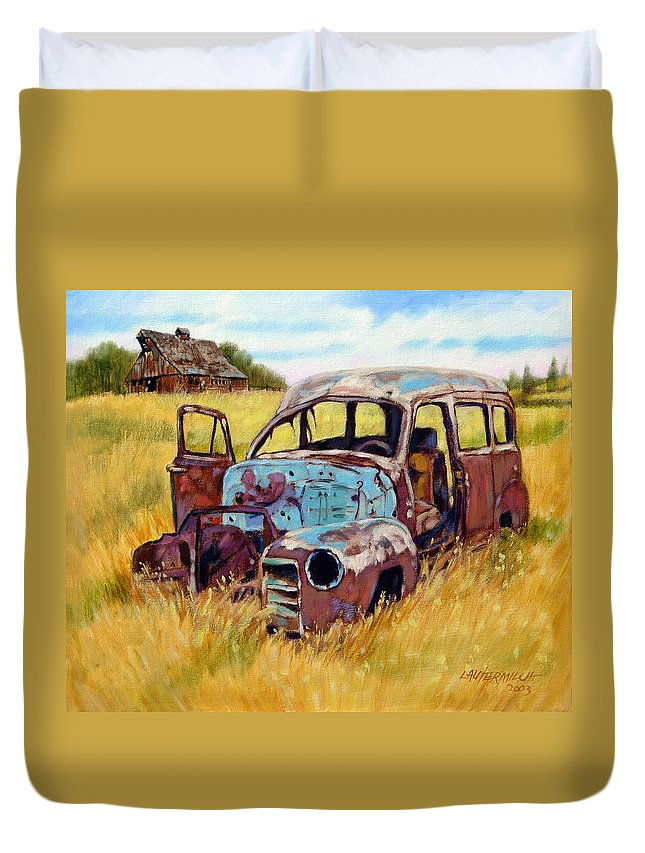 Old Rusty Car Duvet Cover featuring the painting Out To Pasture by John Lautermilch