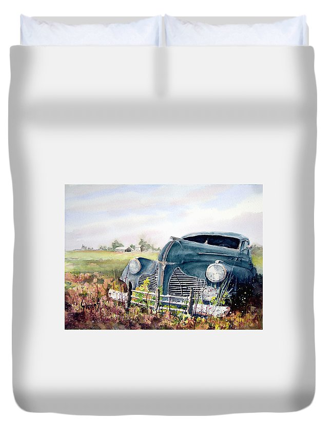 Classic Car Duvet Cover featuring the painting Out To Pasture by Sam Sidders