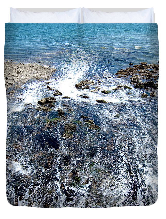 Ocean Duvet Cover featuring the photograph Out To Sea by Greg Fortier