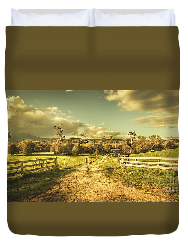 Farm Duvet Cover featuring the photograph Outback Country Paddock by Jorgo Photography - Wall Art Gallery