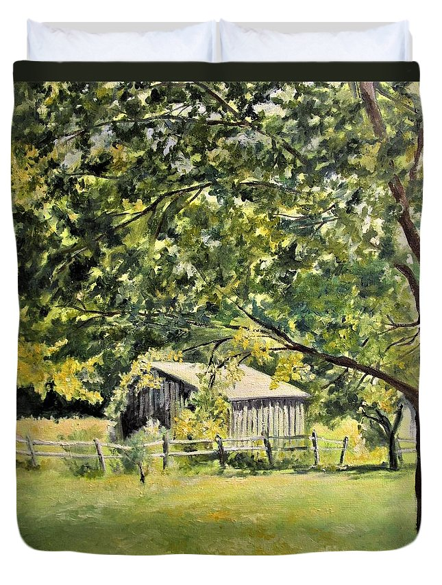 Barbara Moak Duvet Cover featuring the painting Outbuilding At Oriskatach New York by Barbara Moak