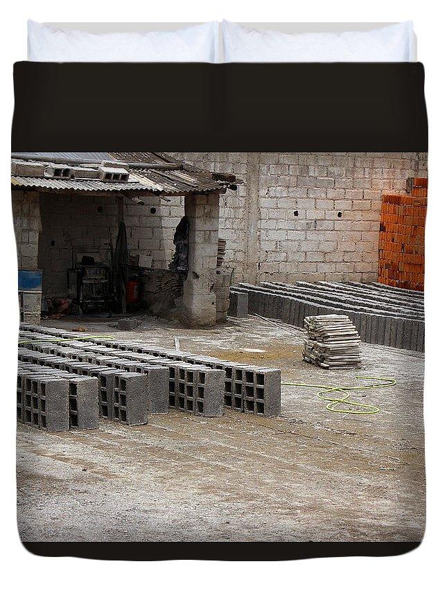 Brickyard Duvet Cover featuring the photograph Outdoor Brickyard In Cotacachi by Robert Hamm