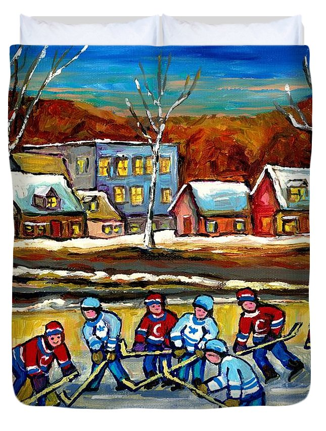 Country Hockey Rink Duvet Cover featuring the painting Outdoor Hockey Rink by Carole Spandau