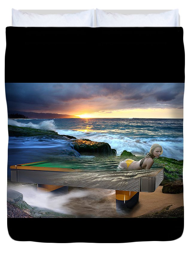 Pool Duvet Cover featuring the digital art Outdoor Pool by Draw Shots