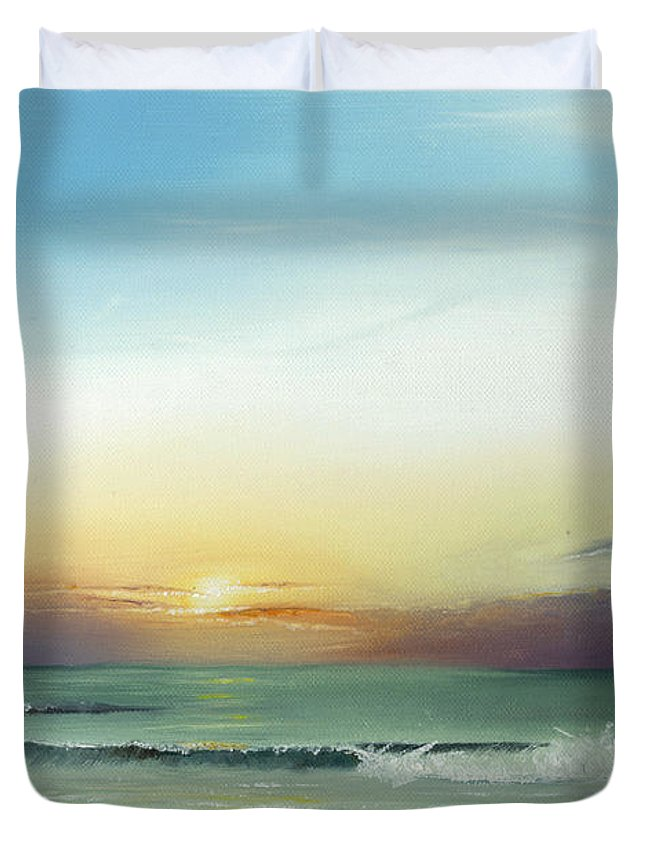 Sunrise Duvet Cover featuring the painting East Coast Sunrise by Albert Puskaric