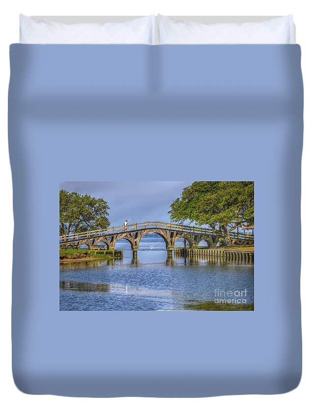 Summer Duvet Cover featuring the photograph Outer Banks Whalehead Club Bridge by Randy Steele