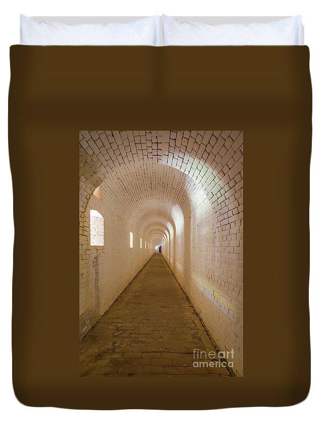 Ft Barrancas Duvet Cover featuring the photograph Outer Scarp Of Ft Barrancas by Rodney Cammauf