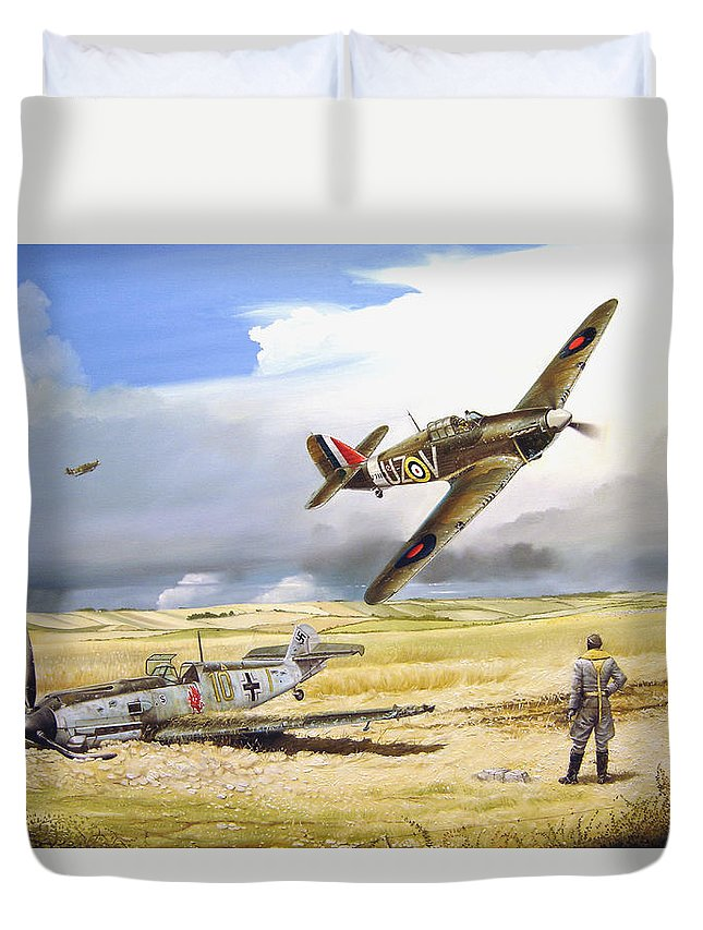 Painting Duvet Cover featuring the painting Outgunned by Marc Stewart