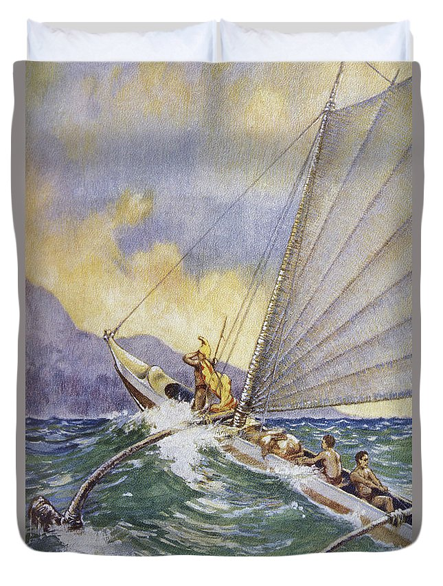 1926 Duvet Cover featuring the painting Outrigger At Sea by Hawaiian Legacy Archive - Printscapes