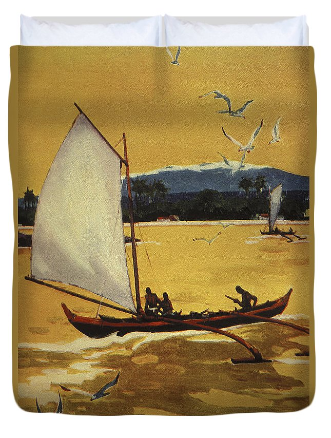 1922 Duvet Cover featuring the painting Outrigger Off Shore by Hawaiian Legacy Archive - Printscapes