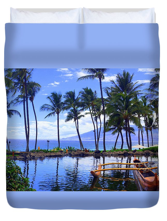 Duvet Cover featuring the photograph Outrigging Wailea by Todd Hummel